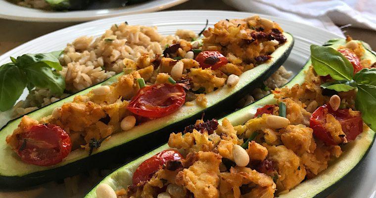 Zucchinis farcis au tofu à l'italienne
