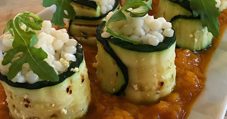 Gunkan makis de tofu, basilic et zucchinis