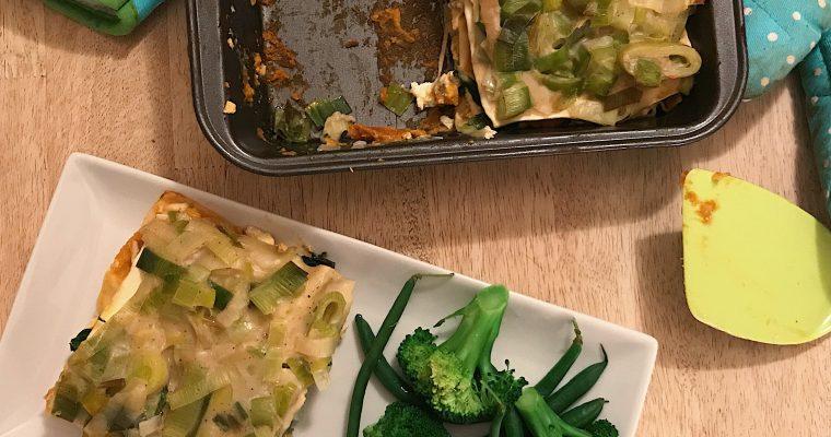 Lasagne à la ricotta et aux épinards, sauce à la courge
