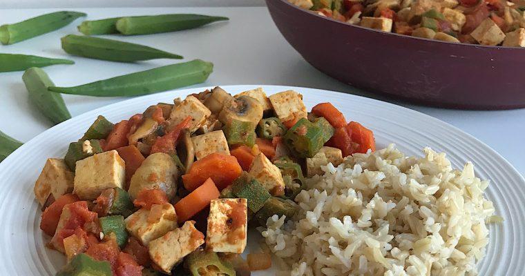 Cari de tofu et okras