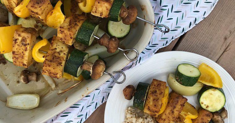 Brochettes de tofu moutarde et miel