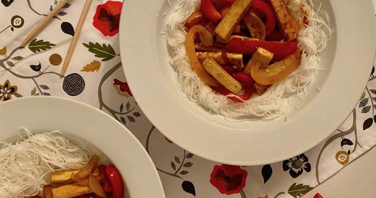 Sauté de tofu aux poivrons sweet n' spicy